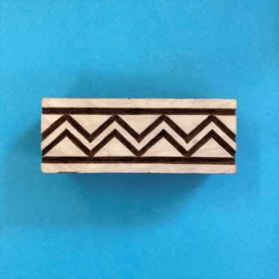 Indian Wooden Printing Block- Solid ZigZag Border