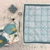 Block Printed Table Runner- Spotty Leaf Tile