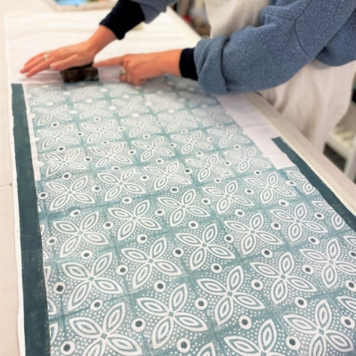 Block Printed Table Runner- Spotty Leaf Tile