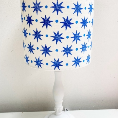 15cm Block Printed Lampshade- Blue Starry