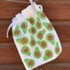 Block Printed Drawstring Bag- Avocado Print