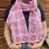 Block Printed Scarf- Raspberry Floral Tile Design