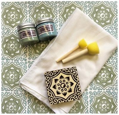 Indian Block Print Kit- Blue Floral Tile Design Scarf