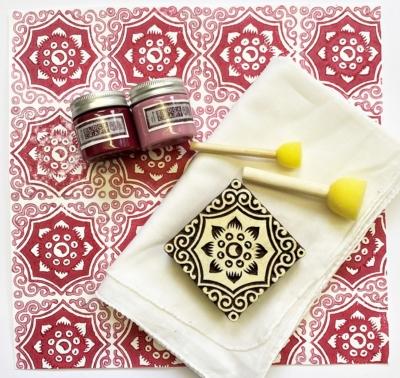 Indian Block Print Kit- Raspberry Floral Tile Design Scarf
