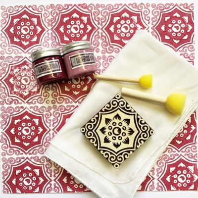 Indian Block Print Kit- Raspberry Floral Tile Design Scarf