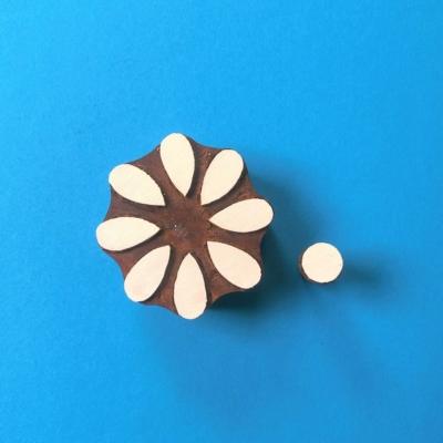 Indian Wooden Printing Block - 8 Petal Flower & Centre
