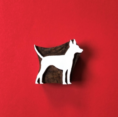 Indian Wooden Printing Block - Dog
