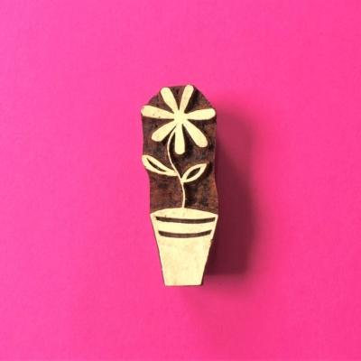 Indian Wooden Printing Block - Flowerpot Flower