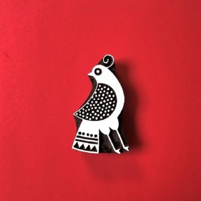 Indian Wooden Printing Block - Folk Peacock