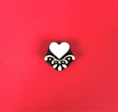 Indian Wooden Printing Block - Heart Motif