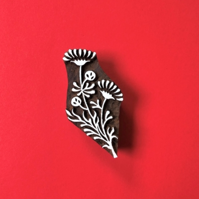 Indian Wooden Printing Block - Indian Flowers