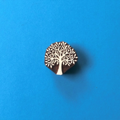 Indian Wooden Printing Block - Mini Bold Spring Tree