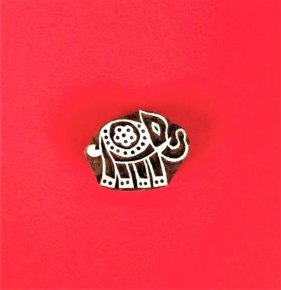 Indian Wooden Printing Block - Mini Indian Elephant