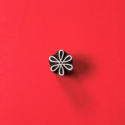 Indian Wooden Printing Block - Open Mini Daisy