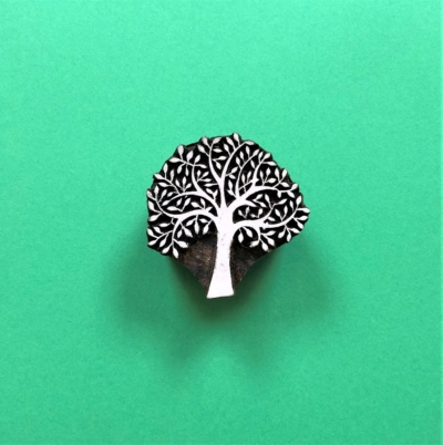 Indian Wooden Printing Block - Small Bold Spring Tree