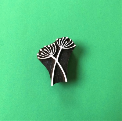 Indian Wooden Printing Block - Small Double Seed Head