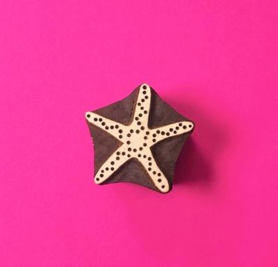 Indian Wooden Printing Block - Small Starfish