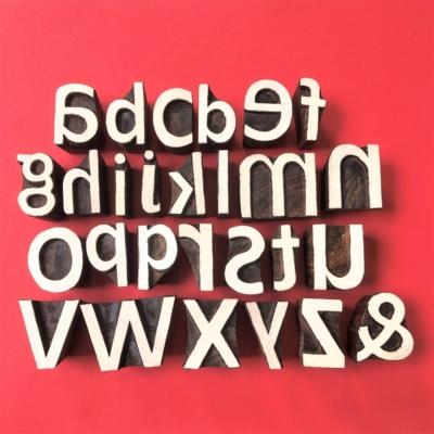 Indian Wooden Printing Blocks - Lowercase Bold Alphabet