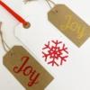 Block Printed Joy Christmas Tags