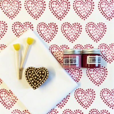 Block Print Kit- Raspberry Heart