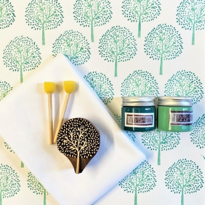 Block Print Kit- Teal Tree
