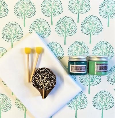 Block Print Kit- Teal Tree
