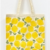 Leafy Lemon Block Printed Tote Bag