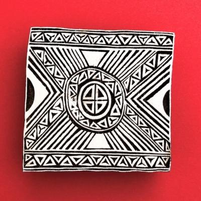 Indian Wooden Printing Block - Aztec Tile 1