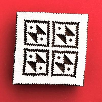 Indian Wooden Printing Block - Aztec Tile 2