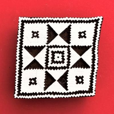 Indian Wooden Printing Block - Aztec Tile 3