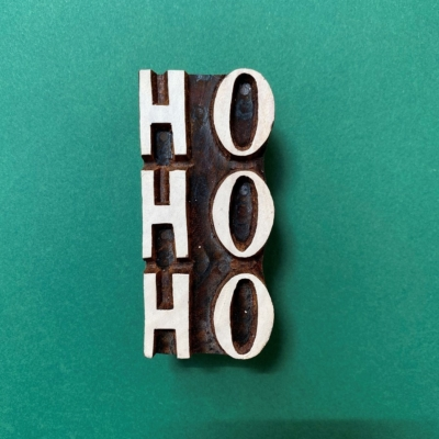 Indian Wooden Printing Block- Ho Ho Ho