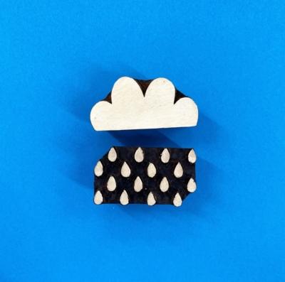 Indian Wooden Printing Block- Cloud & Raindrop