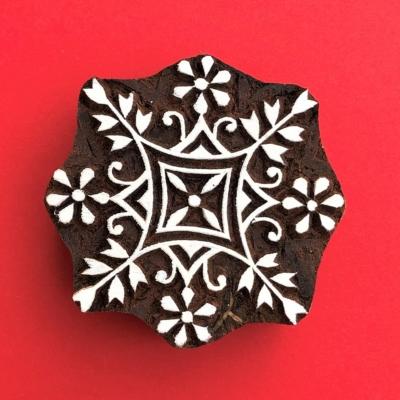 Indian Wooden Printing Block - Large Stylised Snowflake 2
