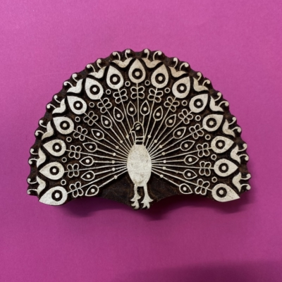 Indian Wooden Printing Block- Peacock Feathers Fan