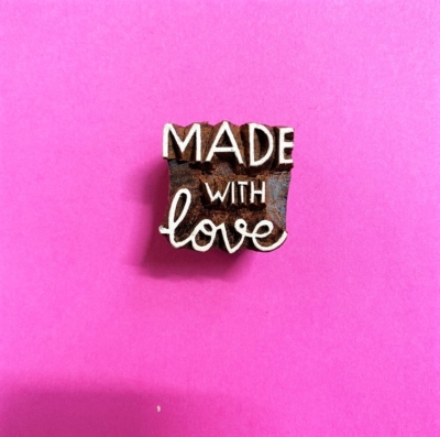 Indian Wooden Printing Block- Pretty 'Made With Love' Text