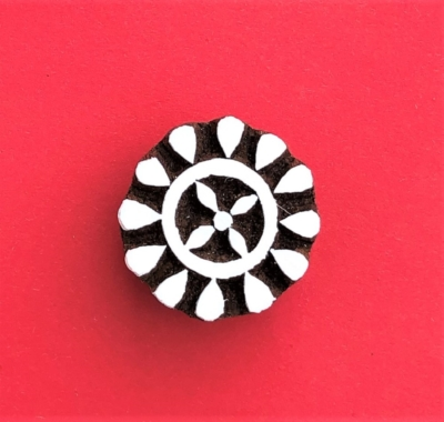 Indian Wooden Printing Block - Small 12 Point Flower