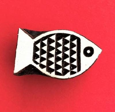 Indian Wooden Printing Block - Small Triangular Fish