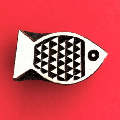 Indian Wooden Printing Block - Small Triangular Fish