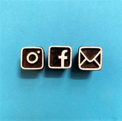 Indian Wooden Printing Blocks- Social Media Symbols