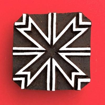 Indian Wooden Printing Block - Square Design 2