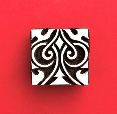 Indian Wooden Printing Block - Square Design 3