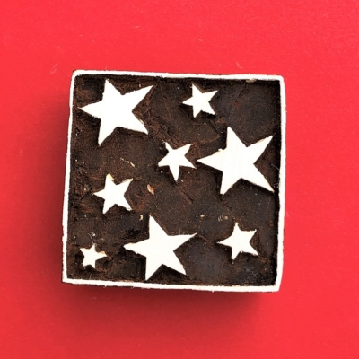 Indian Wooden Printing Block - Stars In Square