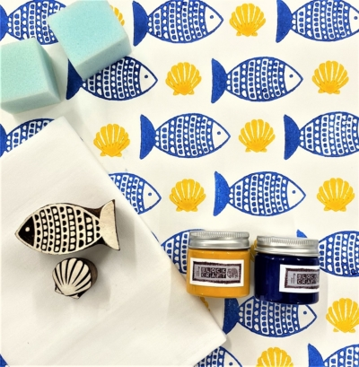 Block Print Kit - Blue Fish