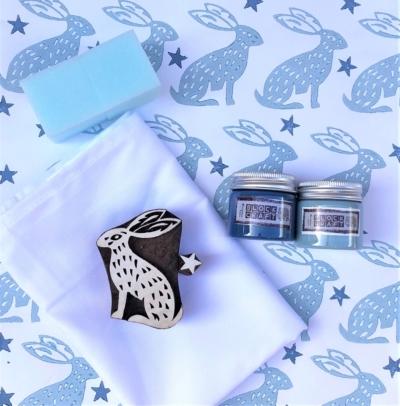 Block Print Kit - Blue Hares