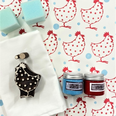 Block Print Kit - Red Chicken
