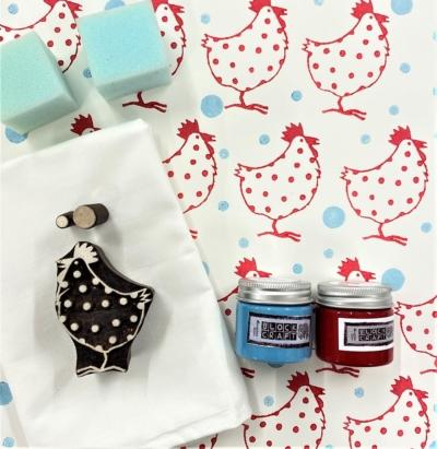 Block Print Kit - Red Chicken