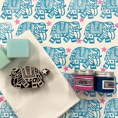 Block Print Kit - Turquoise Elephant