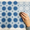 Block Printed Dotty Circle Tile design in Midnight Blue and Indigo