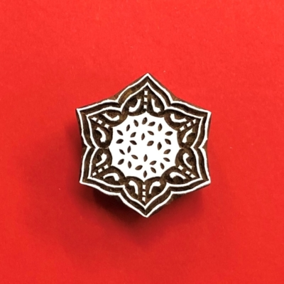 Indian Wooden Printing Block - 6 Point Star Motif