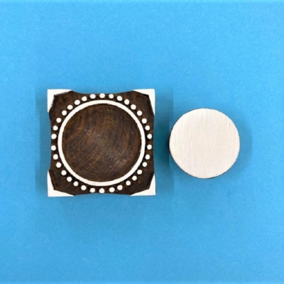 Indian Wooden Printing Block - Dotty Circle Tile